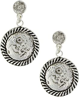 Antiqued Drop Concho Earrings
