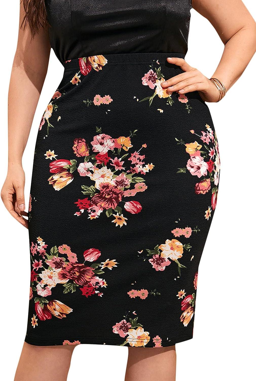 Milumia Women's Plus Size Elegant Floral Print Elastic Waist Midi Pencil Skirt