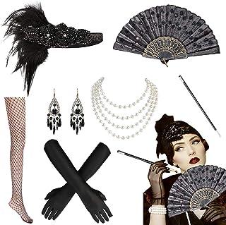 MMTX 1920s Accessoires de Déguisement, Gatsby Flapper Headpiece Charleston Déguisements Accessoires Bandeau en Plumes Perl...