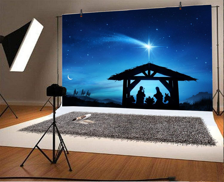 10x6.5ft Vinyl Backdrop Jesusu Christ Theme Photography Background Nativity Birth of Jesus Twinkle Stars Desert Lord Pray Holy Lights Portraits for Children Baby Photo Studio