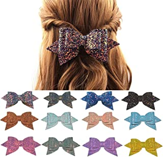 BERON 5 Inches Glitter Hair Bows Boutique Hair Clips Colorful Sequins Hair Bows (12 Pieces)