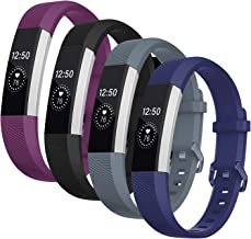 Welltin Bands Compatible with Fitbit Alta/Alta HR for Women and Men(4 Pack), Classic Soft Silicone Sport Strap Replacement...
