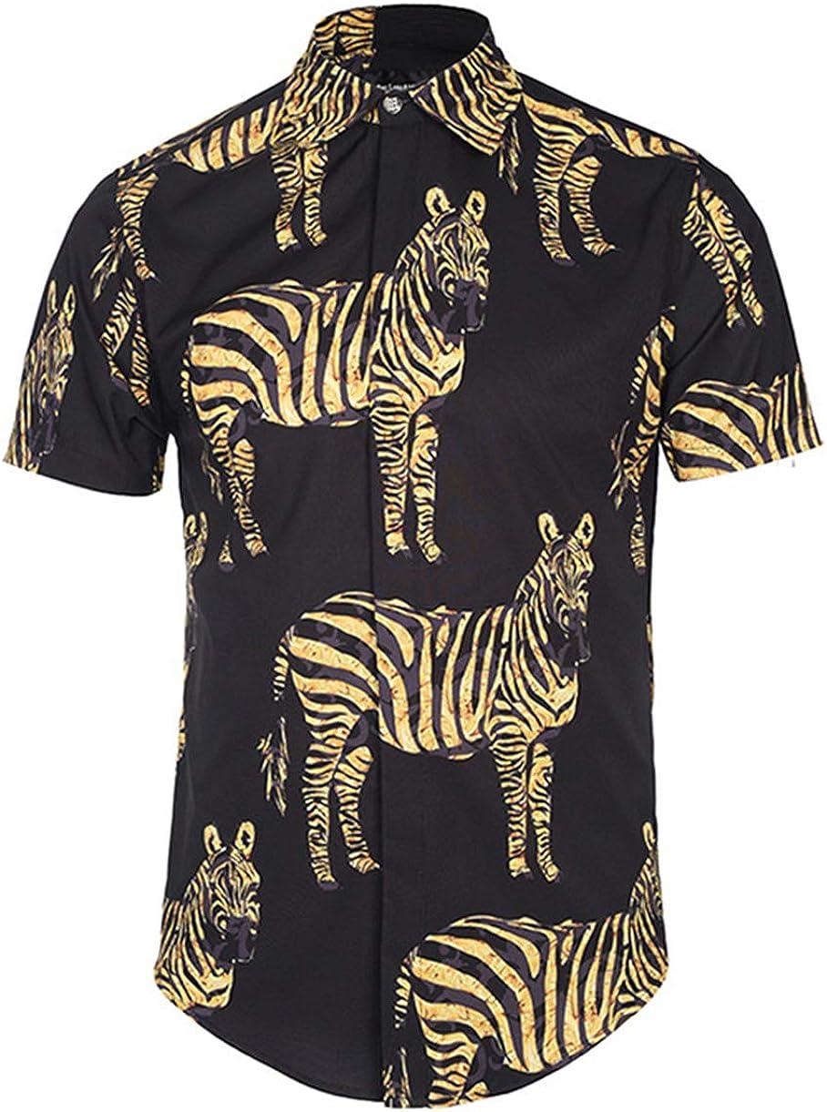 Summer Men's Shirt 3D Zebra Print Shirt Fashion Street Youth Trend Slim Simple Joker Shirt