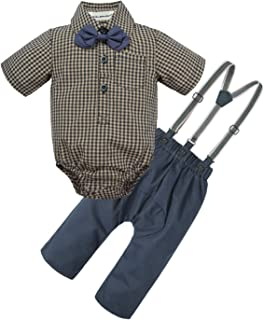BIG ELEPHANT Baby Boys 2 Pieces Fashion Shirt Suspender Pants Set with Bowtie U07
