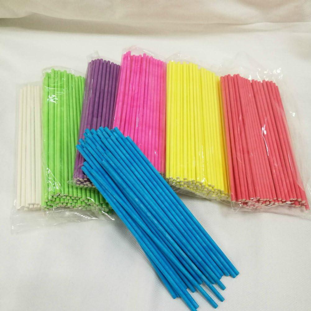 Leisial 100 St/ücke Rosa Lollipop Sticks Papier Cake Pops Stiele Rosa 10*0.35CM
