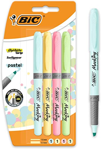 BIC Highlighter Grip Pastel - Marcadores de punta ajustable, blíster de 4 unidades, colores surtidos