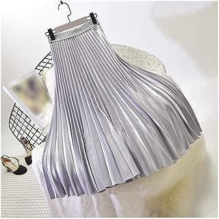 A Perfect Pleated skirt Elegante Falda Plisada elástica de Cintura Alta para Mujer, Falda Larga para Mujer