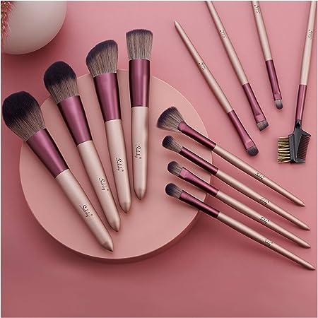 Set de brochas de maquillaje profesional Subsky 12 piezas Pinceles de maquillaje Set Premium Synthetic Foundation Brush Blending Face Powder Blush Concealers Kit de pinceles (E)