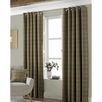 Riva Paoletti Aviemore Eyelet Curtains Brown 66 X 90 168 X 229