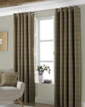 Riva Paoletti Aviemore Eyelet Curtains, Brown, 66 x 90 (168 x 229 cm), Fabric, Thistle