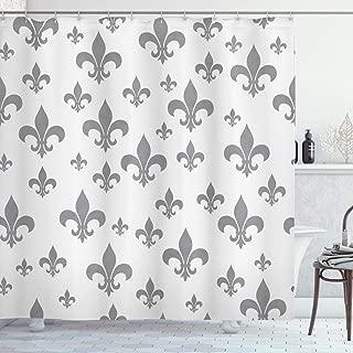 Ambesonne Fleur De Lis Shower Curtain, Lily Pattern Classic Retro Royal Vintage European Iris Ornamental Artwork, Cloth Fabric Bathroom Decor Set with Hooks, 75