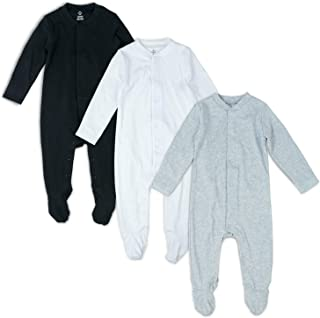 OPAWO Solid Color Unisex Baby Footed Sleeper Pajamas with Mitten Cuffs 3-Pack 0-18 Months