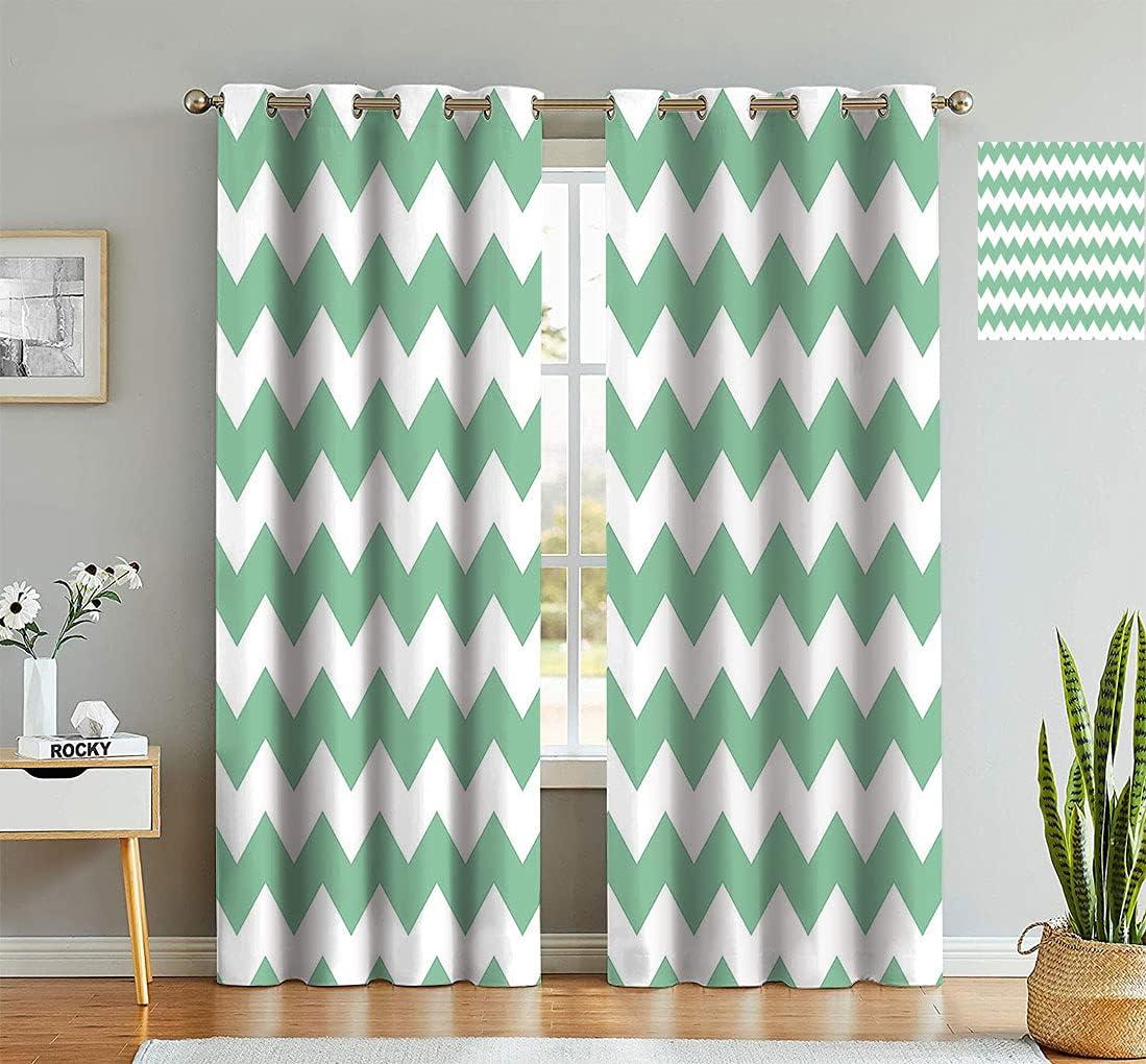 Mint Spring new work Decorative Curtains Chevron Max 68% OFF Horizontal Twis Pattern Zigzag