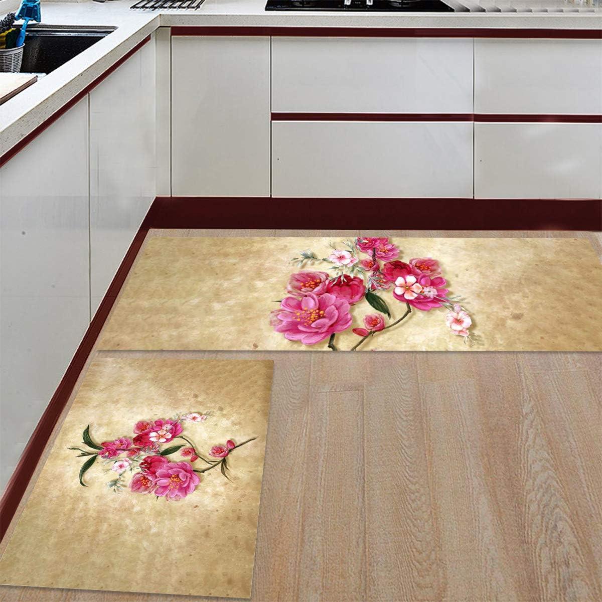 Advancey 2 Dedication Pieces Anti-Slip Kitchen Mats Drawn Flow Vintage Hand Free shipping
