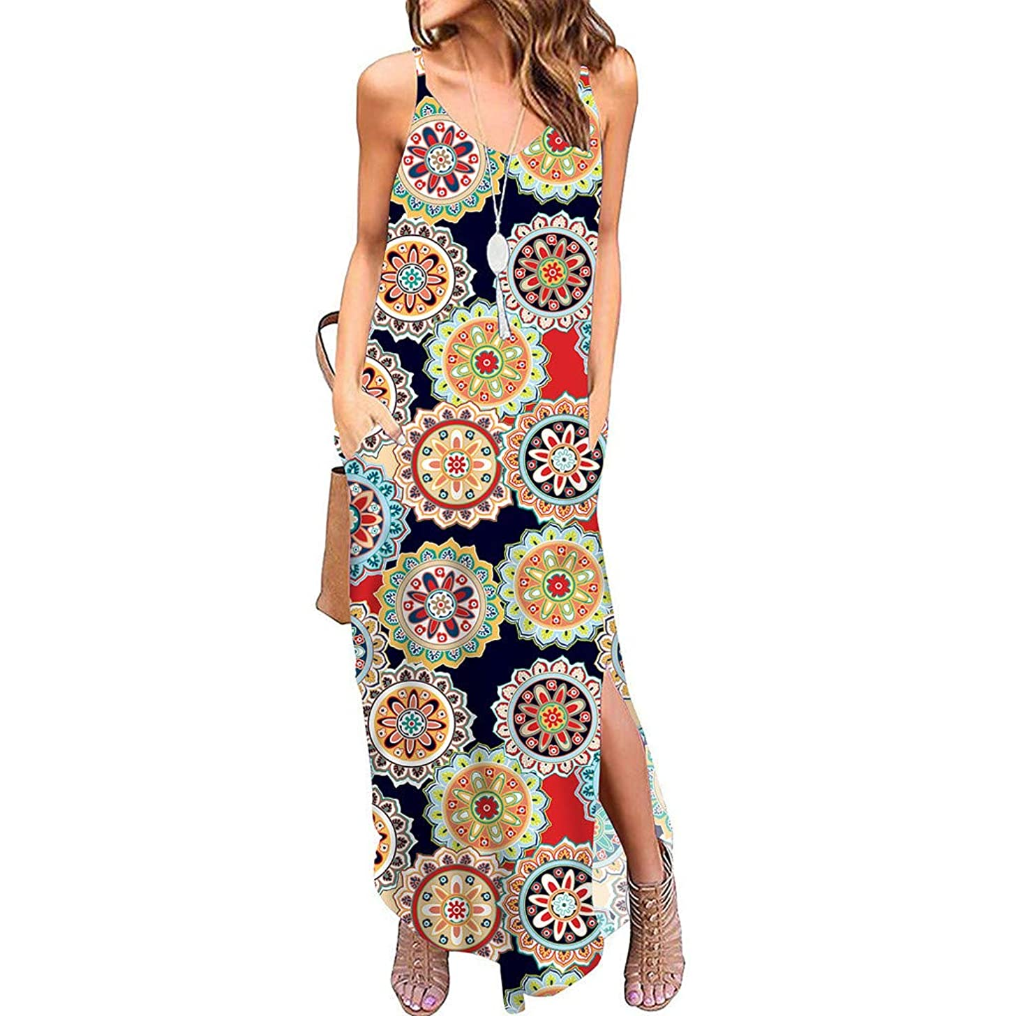 Women's Summer Dress Casual Loose Beach Cover Up Long Plain Print Cami Maxi Dresses Tank Sundress with Pocket