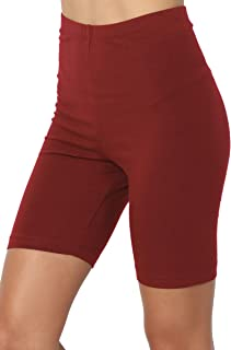 TheMogan Mid Thigh Stretch Cotton Span High Waist Active...