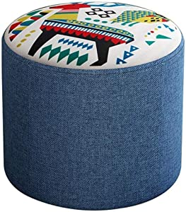 LMDS Round Pouf Foot Stools Ottomans Small Foot Rest Pouffe for Sitting, Ottoman Pouf for Living Room Small Space for Adults and Kids