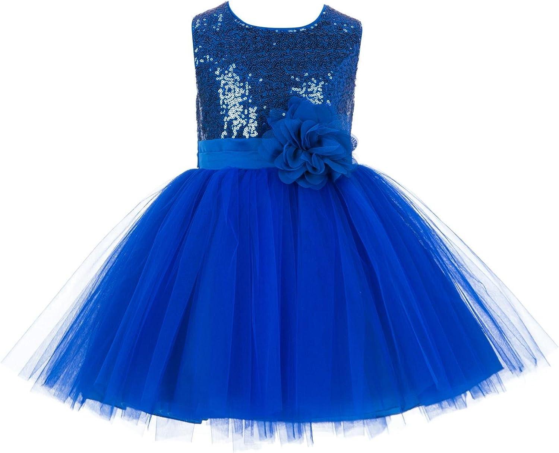 Wedding Pageant Sparkling Sequins Mesh Flower Girl Dress Tulle Toddler Princess Birthday Recital 124NF