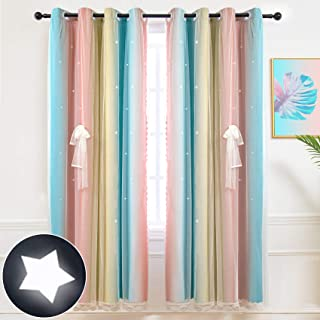 Hughapy Star Curtains Stars Blackout Curtains for Kids...