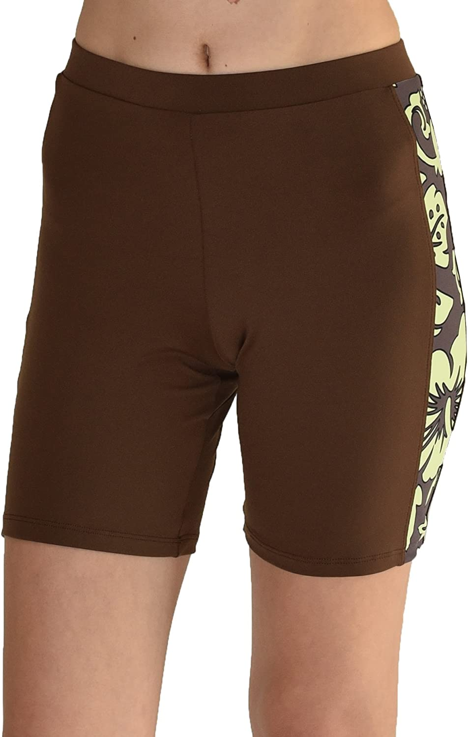 Private Island Hawaii UV Women Rash Guard Skinny Shorts Pants (Large, Brown with Green)