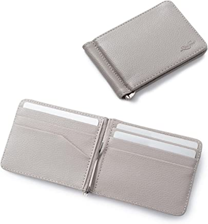 Zodaca Bifold Leather Wallet ID Card Business Card Case Credit Card Holder [Lightweight] [Travel-friendly] with Removable Bank Note Money Clip For Men, Gray