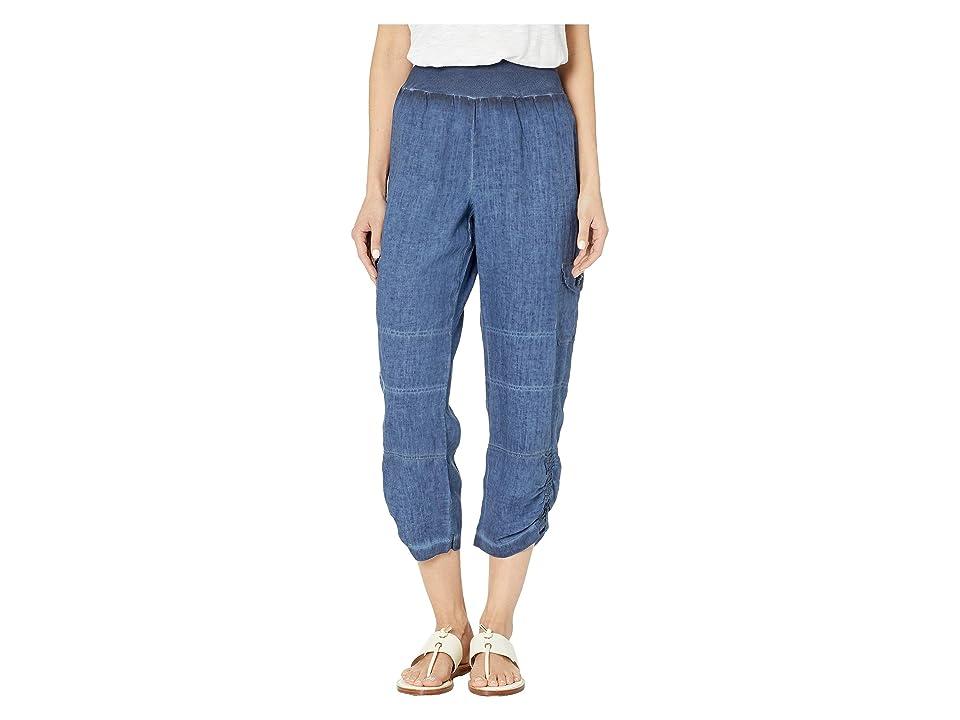 Elliott Lauren Stone Wash Linen Pull-On Crop Cargo Pants (Indigo) Women