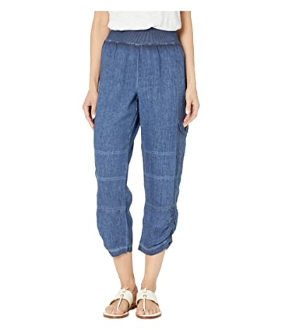 Elliott Lauren Stone Wash Linen Pull-On Crop Cargo Pants (Indigo) Women