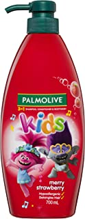 Palmolive Kids 3 in 1 Hypoallergenic Hair Shampoo, Conditioner and Body Wash Trolls Merry Strawberry, 700mL