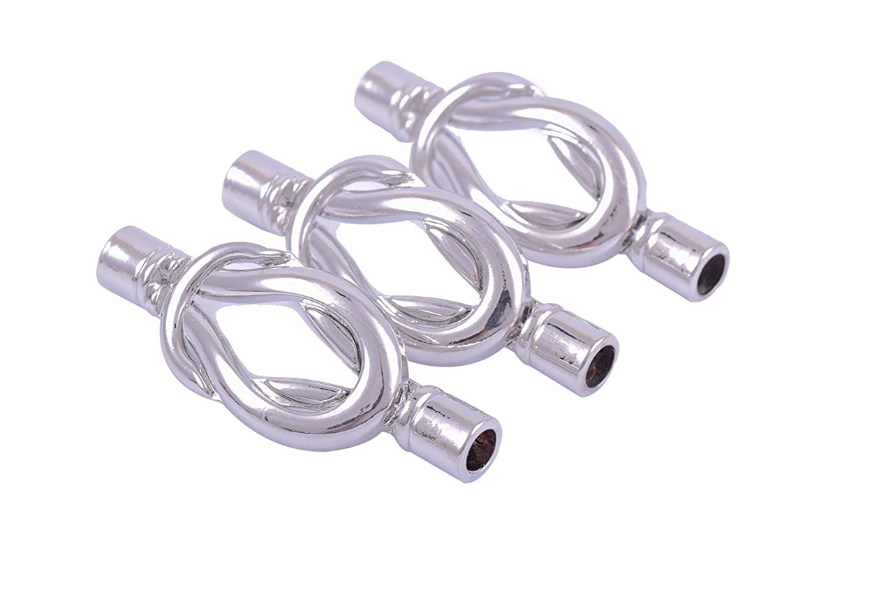 KONMAY 5 Sets Dia. 5.0mm Marine Knot Magnetic Clasp for Bracelet (Rhodium)