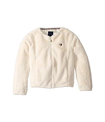 Tommy Hilfiger Kids Faux Fur Jacket (Big Kids) (Egret) Girl