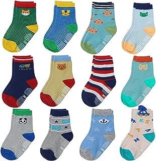 ELUTONG, Calcetines antideslizantes para niños pequeños, ABS, 12 pares de calcetines antideslizantes para bebés de 1 a 7 años