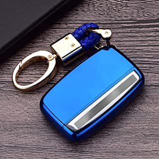 Royalfox(TM 5 Buttons TPU Smart Remote Key Fob case Cover for Land Rover Defender Discovery Sport LR2 LR3 LR4 Range Rover Sport EVOQUE and Jaguar XF XJ XJL XE F-PACE (Blue)