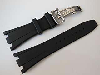 28/29mm Black Rubber Watch Band Strap with Silver Butterfly Buckle For 42mm AP ROO