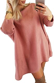 CILKOO Womens Sweaters Ladies Winter Warm Oversized Off Shoulder Chunky Cable Knitted Long Tunic Pullover Sweater Dresses Pink US 8 10
