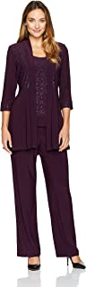 R&M Richards Women's Two Piece Glitter and Lace Pant Set Missy