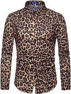 Hombre Leopardo Impresión Camisas Slim Fit Camisa De Manga Larga Chic Casual Celebración De Días Festivos Camicia Bluse