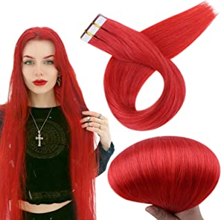 RUNATURE 12inches Tape Extensions Color Red 20g (2g per piece) 10Pcs Real Hair Extensions for Women