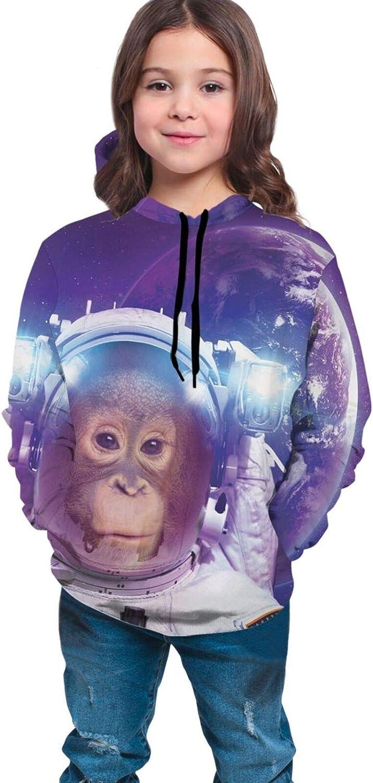 Teen Hoodies Fashion Sweatshirts,Astronaut On Rocky Surface of Moon American Flag USA Rocket Traveling Space Art