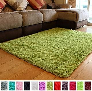 PAGISOFE Soft Shag Green Furry Area Rugs for Living Room Bedroom Kids Room Rug Fluffy Comfy Floor Carpet for Nursery Modern Plush Home Center Decorative Rug Fur Rug Mat 4' x 5',(Grass Green)