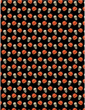 Vintage Happy Halloween Duvet Cover - Spooky Pumpkins Skulls Microfiber Duvet Cover Cream Twin