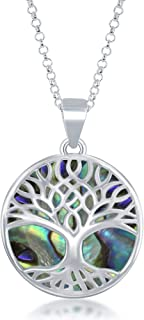 Sterling Silver Natural Turquoise/Abalone/Mother-of-Pearl Stone Tree of Life Circle Pendant with 18