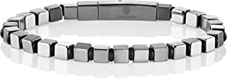 Namana Stainless Steel Cube Bracelet for Men. Bracelet with Cube Shaped Beads in a Polished and Brushed Finish. Men's Jewelry with Gift Box