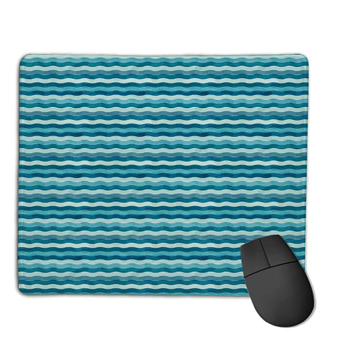 Comfortable Mouse Pad Quality Selection,Abstract,Ocean Themed Wave Design Marine Artwork Aquatic Color Palette Horizontal Lines,Teal Turquoise,Consoles More Enjoy Precise & Smooth Operating Experien