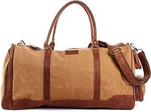 LECONI XL Reisetasche Sporttasche Canvas für Damen & Herren Canvas  Leder Weekender Unisex Handgepäck für die Reise 55x30x27cm LE2017-C