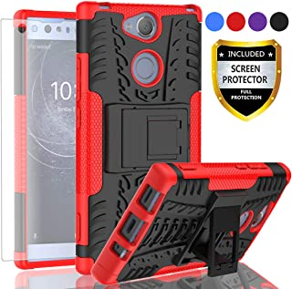 AYMECL Xperia XA2 Ultra Phone Case,Xperia XA2 Ultra Case,Tire Pattern Design Heavy Duty Dual Layer Shock Resistant Armor Kickstand Cover with HD Screen Protector for Xperia XA2 Ultra-HN Red
