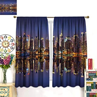 Audioce Printed Curtain Landscape Cityscape Scenery of New York City at Midnight USA Ocean Reflection Coast Photo Living Room Decorative Curtain 55