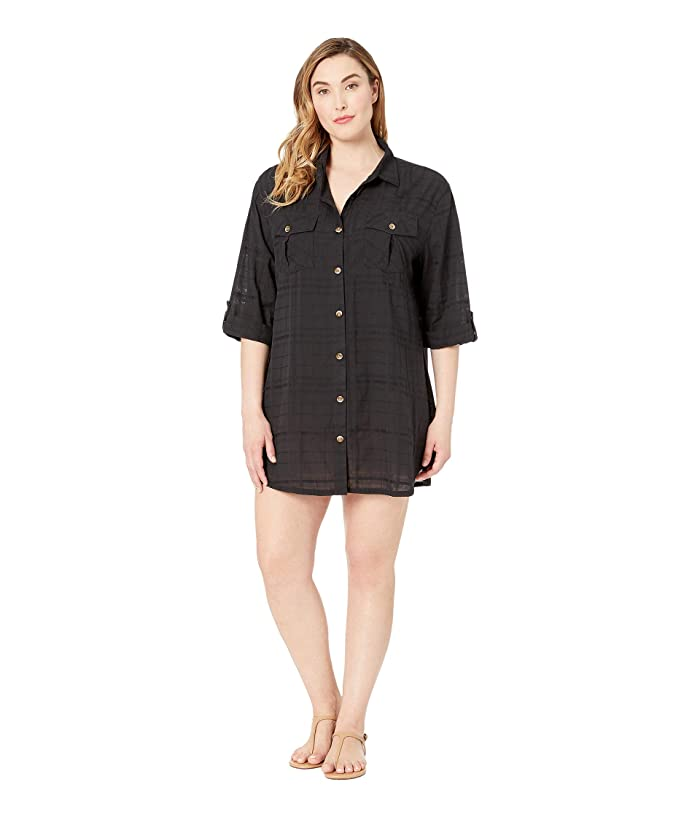 DOTTI Plus Size On Island Time Shirtdress Cover-Up (Black) Women