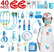 XINSHI Doctor Pretend Role Play Medical Dentist Kits Toys with Stethoscope , Thermometer, Blood Pressure Cuff and Dress-up Coat for Your Kid/Boy/Girl/Princess/Granddaughter/Grandson (40 Pcs )