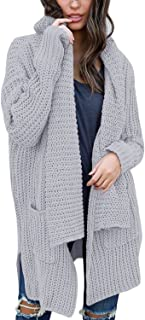 BLENCOT Women's Long Sleeve Shawl Neck Sweater Open Front Chunky Cardigan with Pockets