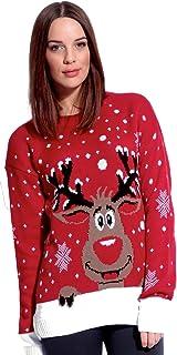 Divadames®Women's Reindeer Jumper Ladies Christmas Reindeer Print Jumper Womens Snowflakes Print Sweater UK Red 12/14